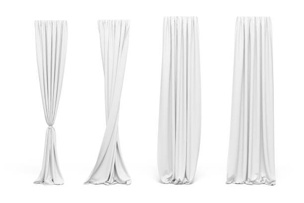 3d curtains on white background - curtain stock pictures, royalty-free photos & images