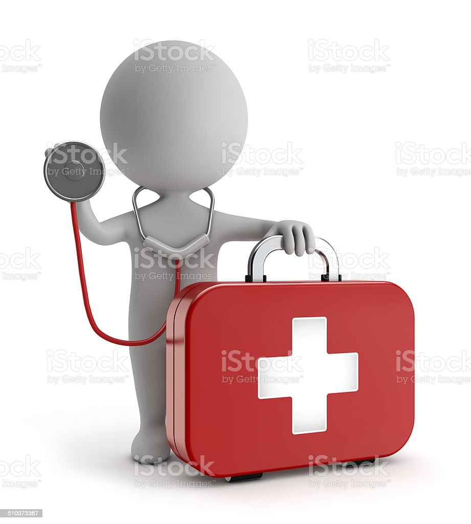 3d cute people - first aid kit and holding stethoscope stock photo