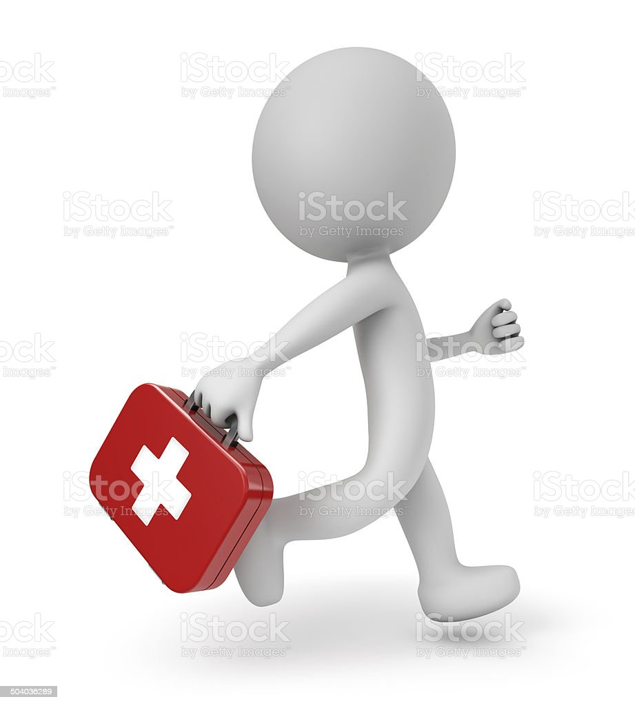 3d cute people- first aid kit stock photo