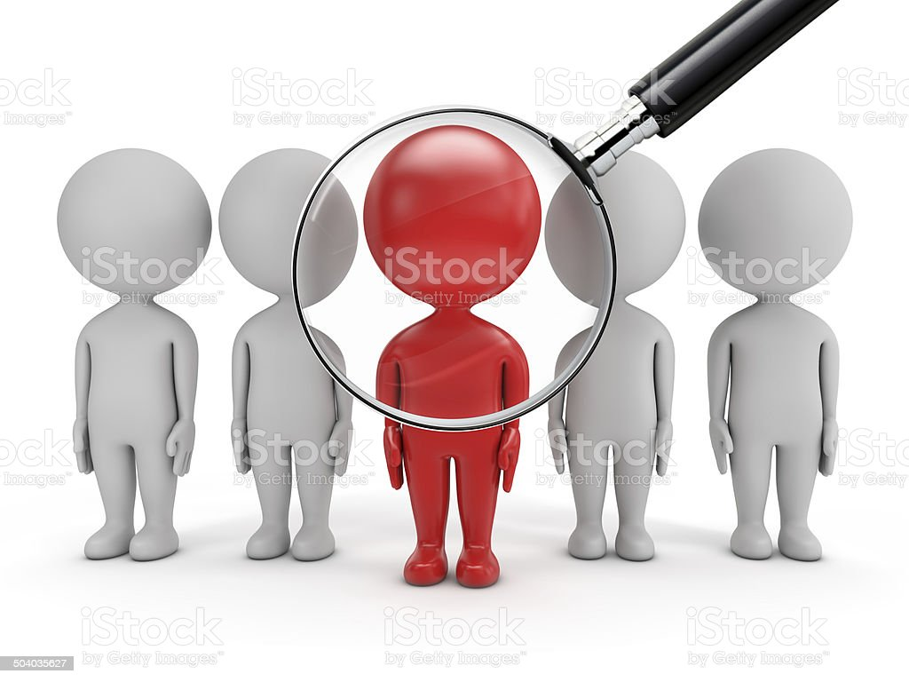 3d cute people - job search stock photo