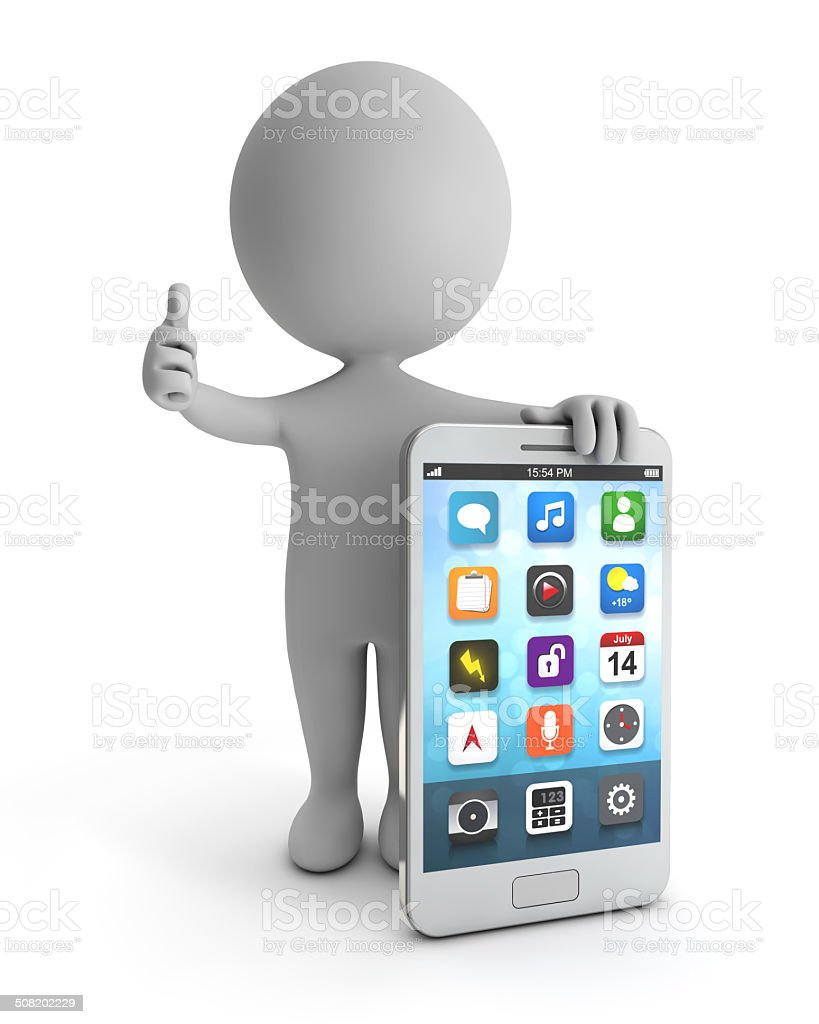 3d cute people - standing white smartphone stock photo