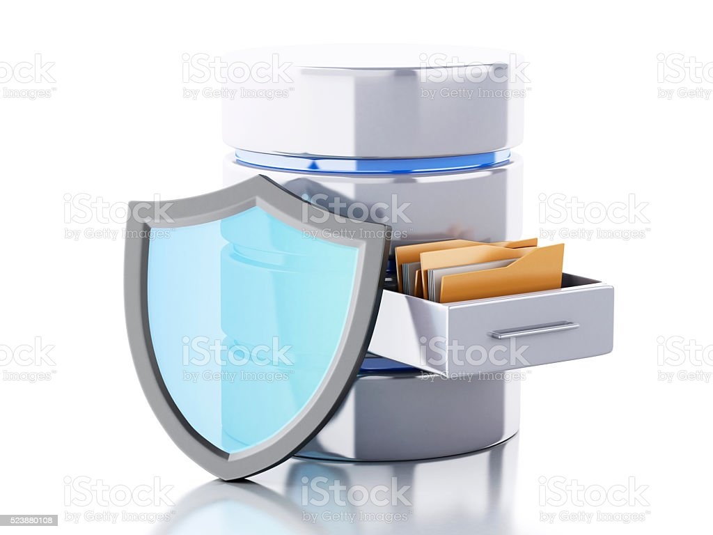 3d Data storage with shield. stock photo