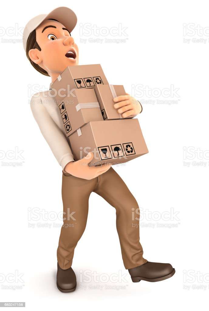 3d delivery man overworked 免版稅 stock photo