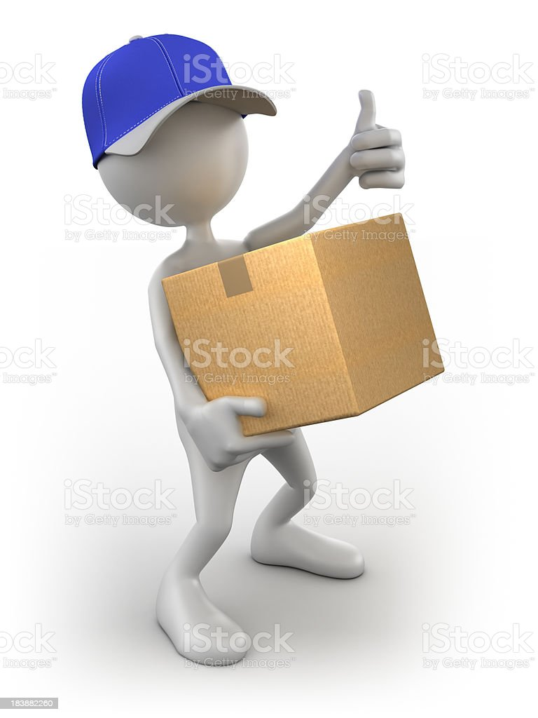 3d Delivery Man with cardboard box, isolated / clipping path royalty-free stock photo