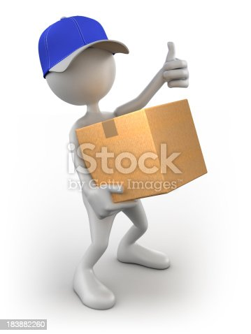 471353682istockphoto 3d Delivery Man with cardboard box, isolated / clipping path 183882260