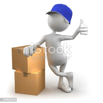 471353682istockphoto 3d Delivery Man with cardboard boxes, isolated / clipping path 183893528