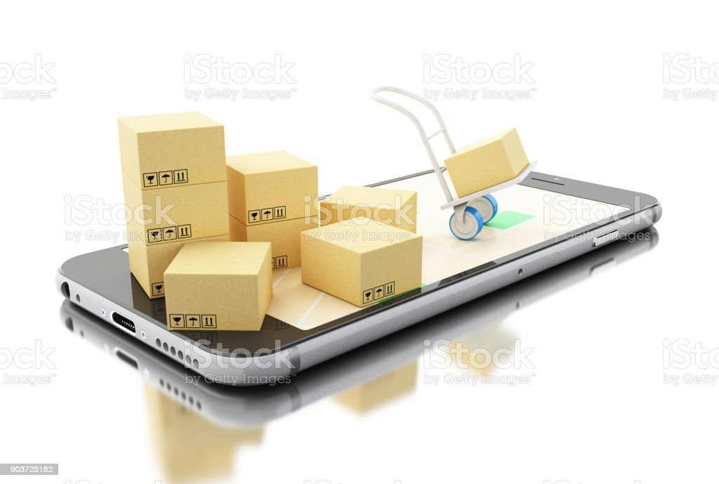 3d Delivery transport with cardboard boxes on Smartphone 3d illustration. Smartphone on city map and Delivery transport with cardboard boxes.Shipping, delivery concept. Isolated white background. Argentina Stock Photo