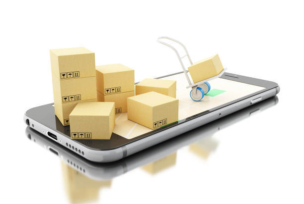 3d Delivery transport with cardboard boxes on Smartphone stock photo