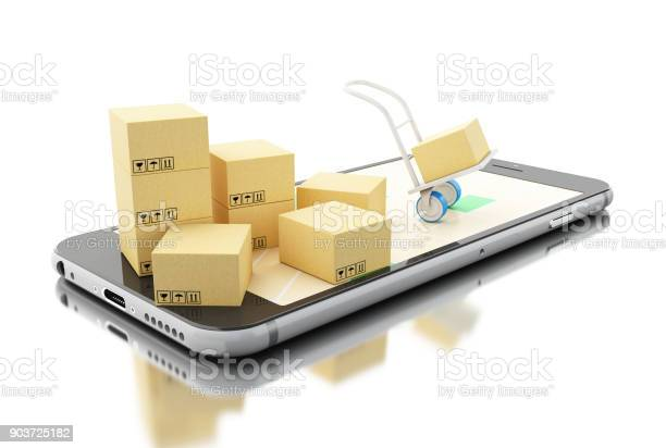 3d Delivery Transport With Cardboard Boxes On Smartphone Stock Photo - Download Image Now