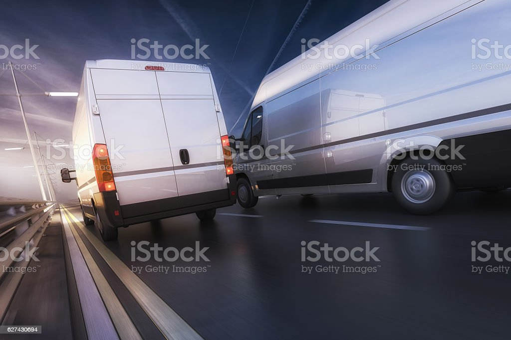 3d design of Vans in motion on highway stock photo