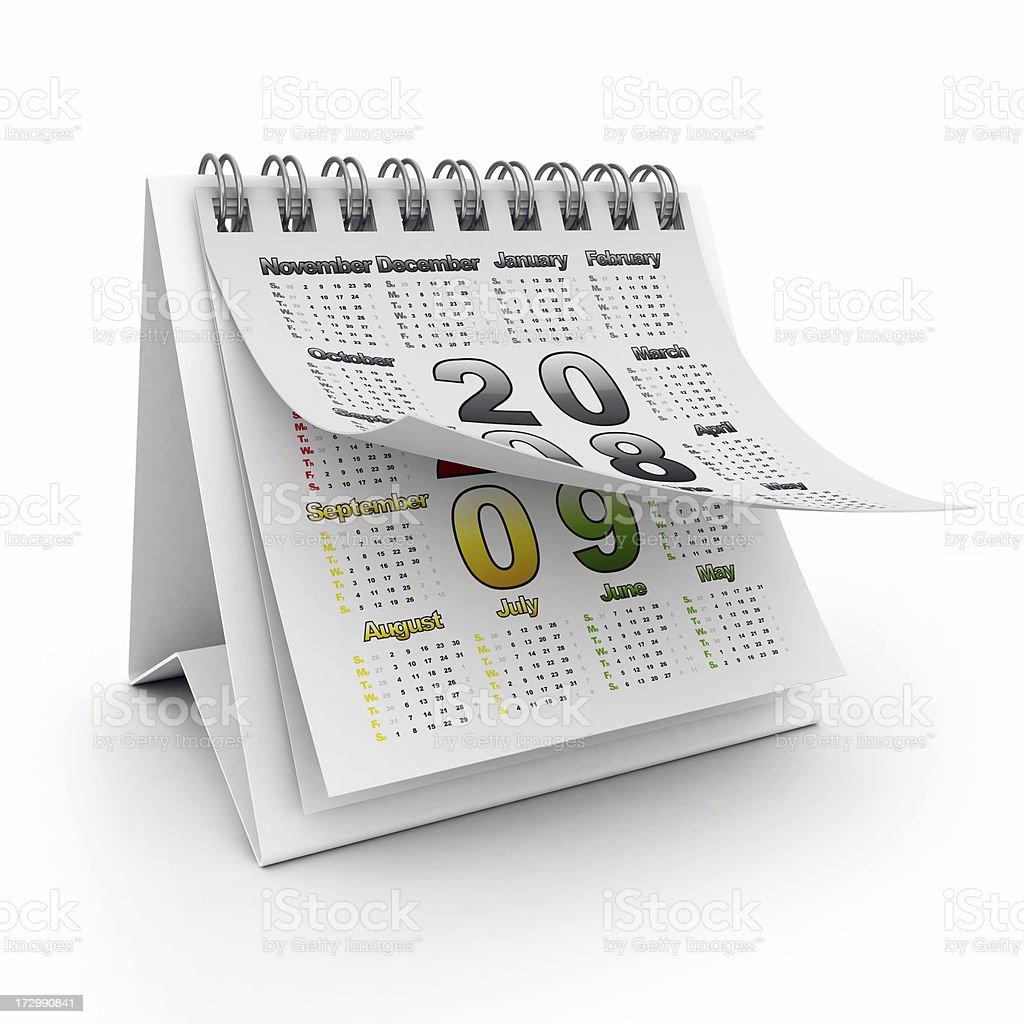 3d desktop calendar 2008/2009 stock photo