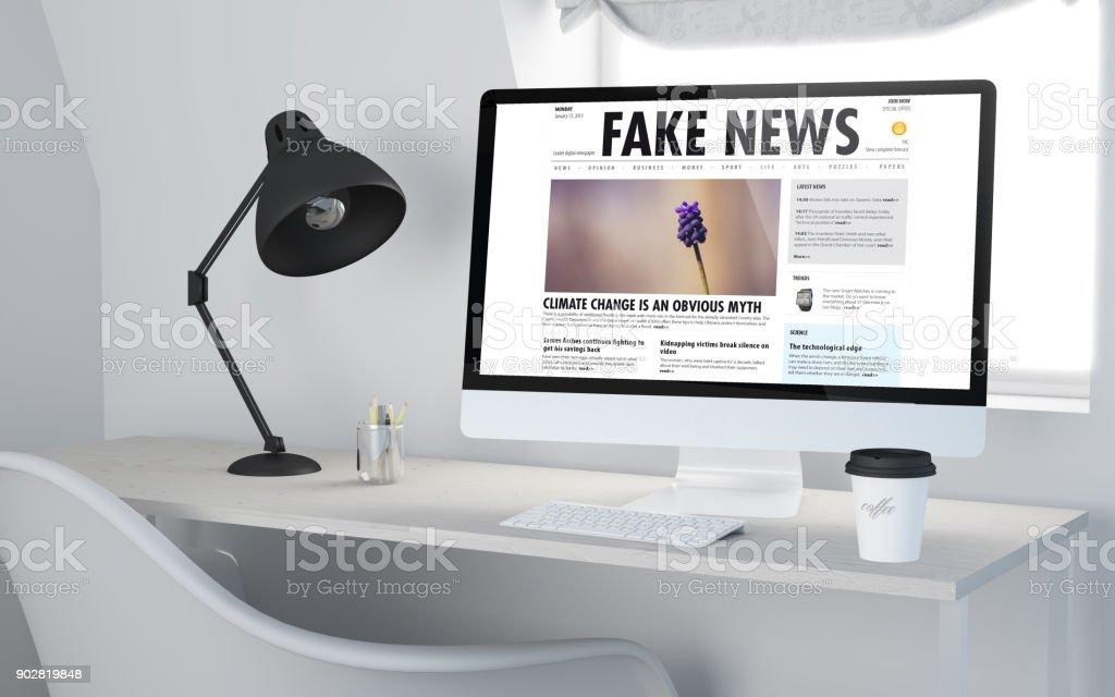 3d desktop workspace rendering fake news online stock photo