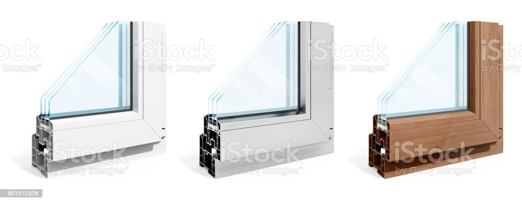 3d detailed window frame profile section, on white background stock photo