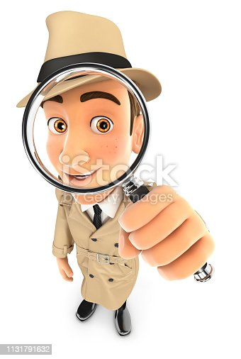 3d detective looking into a magnifying glass, illustration with isolated white background