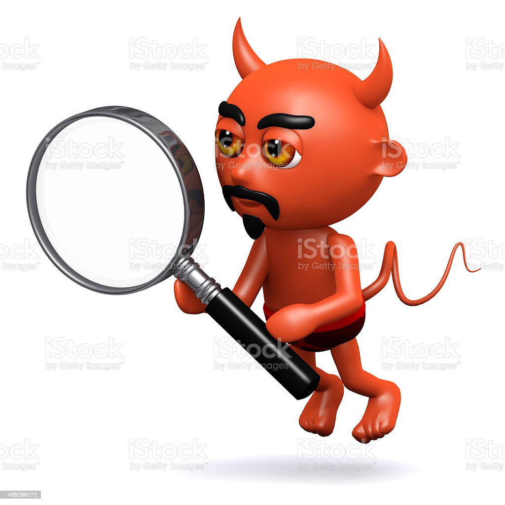 3d Devil with a magnifying glass royalty-free stock photo