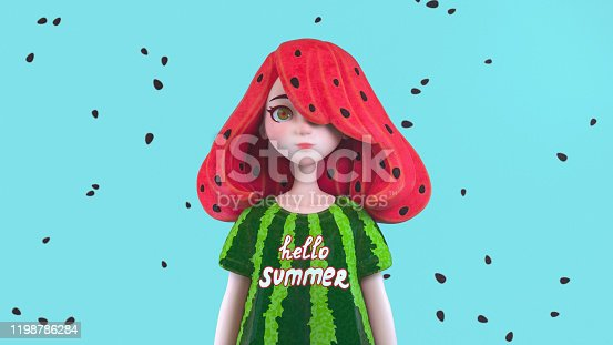 3d digital illustration of cute cartoon girl with watermelon hair and watermelon rind t-shirt with text hello summer standing on a blue background with black seeds. Young woman with seeds in red hair.