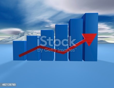 537390268 istock photo 3d dimentional blue graph with cloudscape 462128793