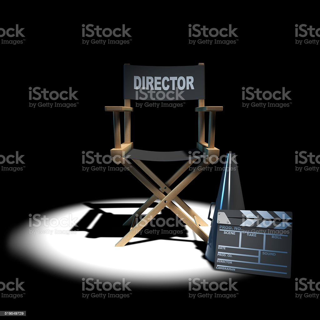 3d Directors chair in the spotlight stock photo