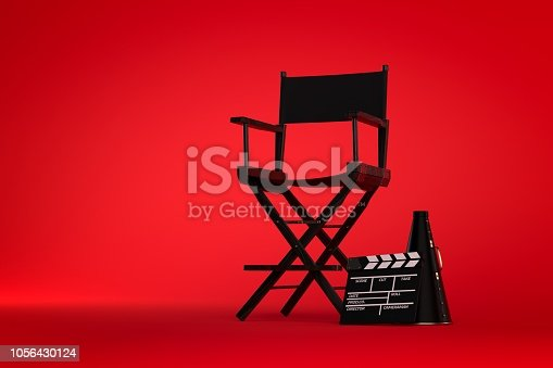 3d Directors chair on film set on red background
