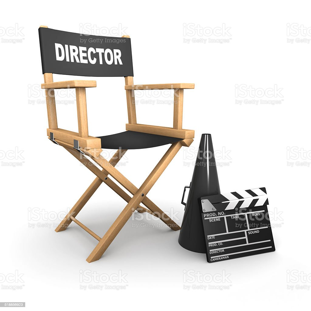 3d Directors chair on film set stock photo