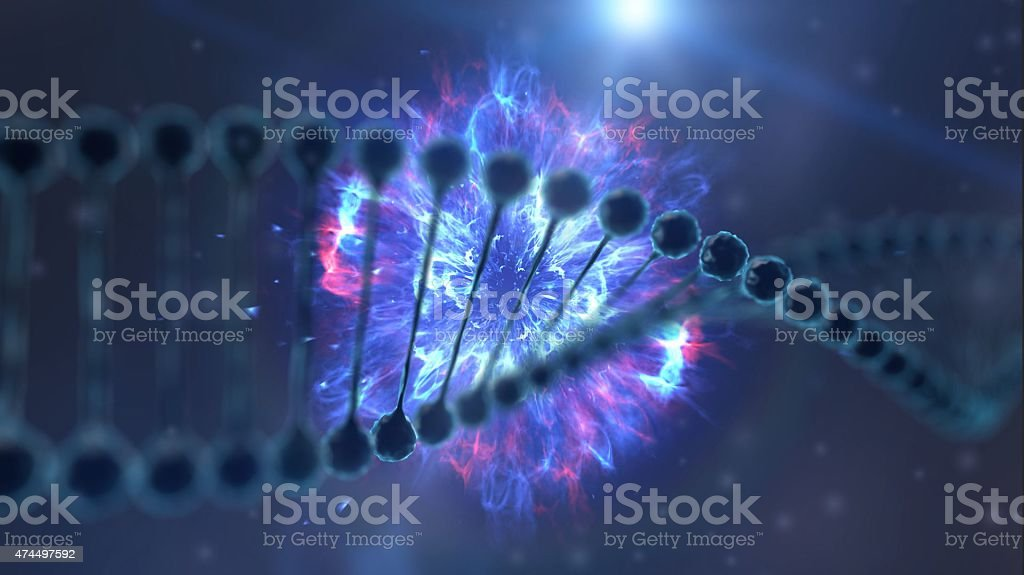 3d DNA explosion stock photo