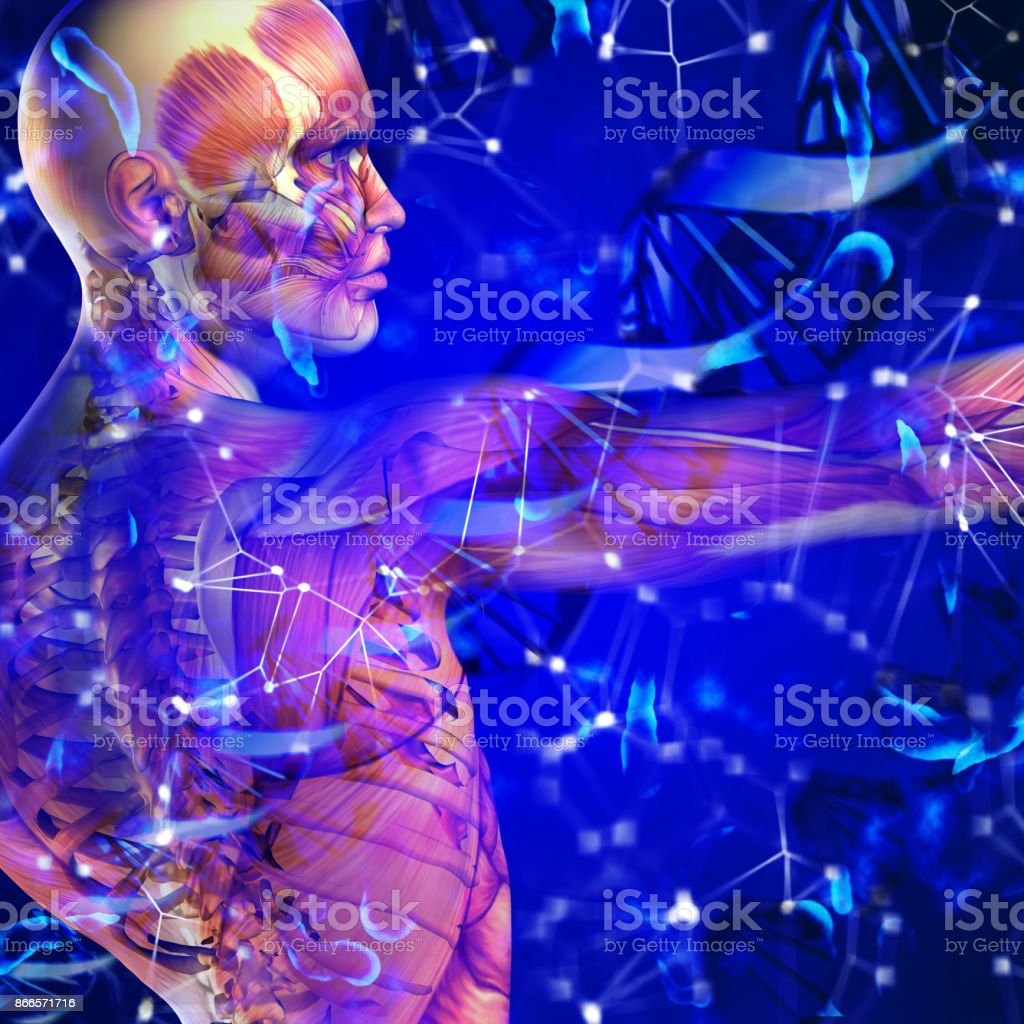 3d dna medical background with male figure and virus cells stock photo