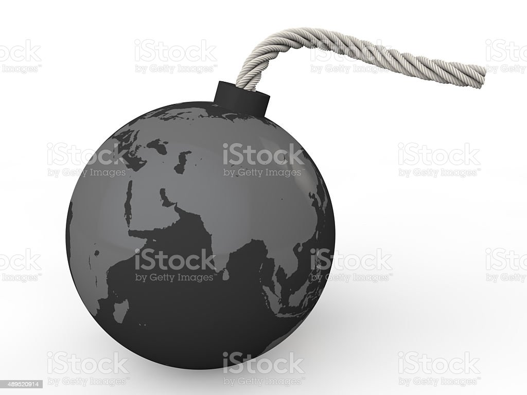 3d earth bomb stock photo
