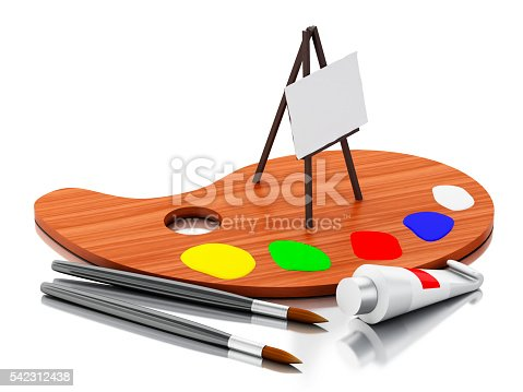 1021586250istockphoto 3d Easel painting and color palette. 542312438