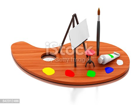 1021586250istockphoto 3d Easel painting and color palette. 542312486