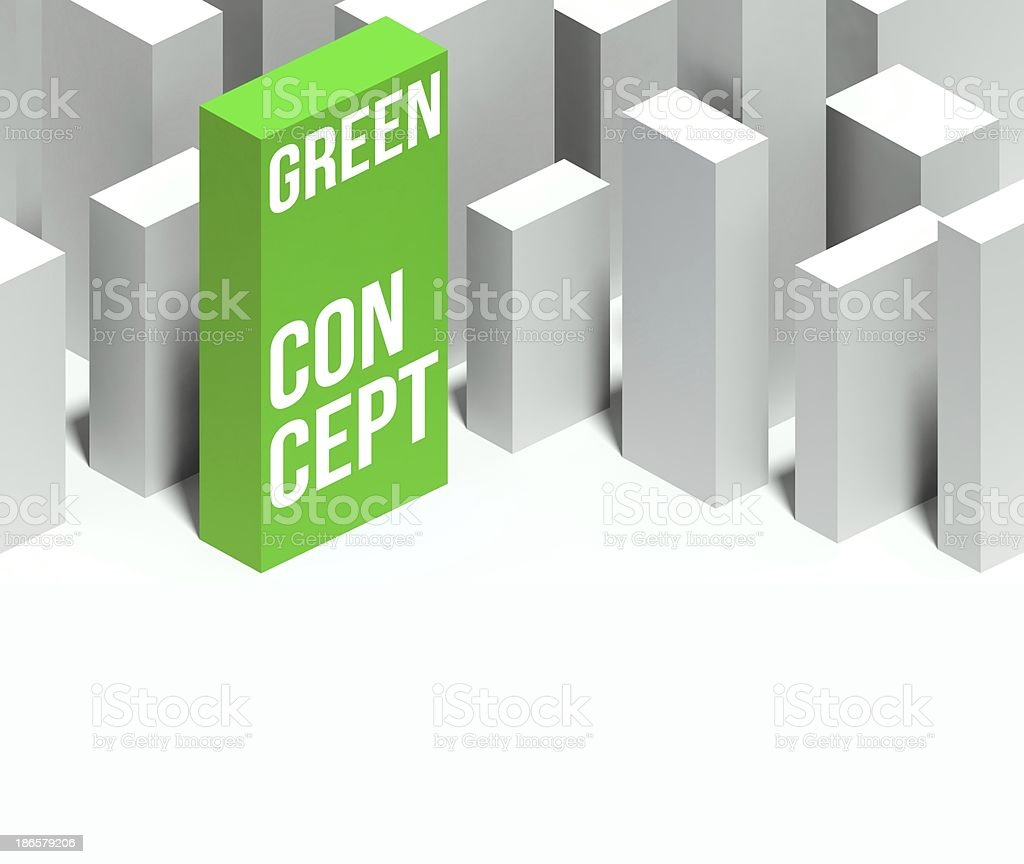 3d eco green conceptual of city with distinctive skyscraper royalty-free stock photo