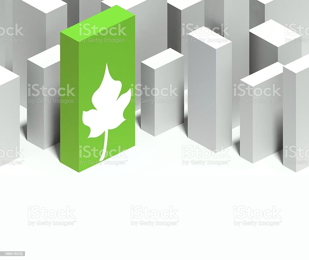 3d eco leaf symbol in conceptual model of city royalty-free stock photo