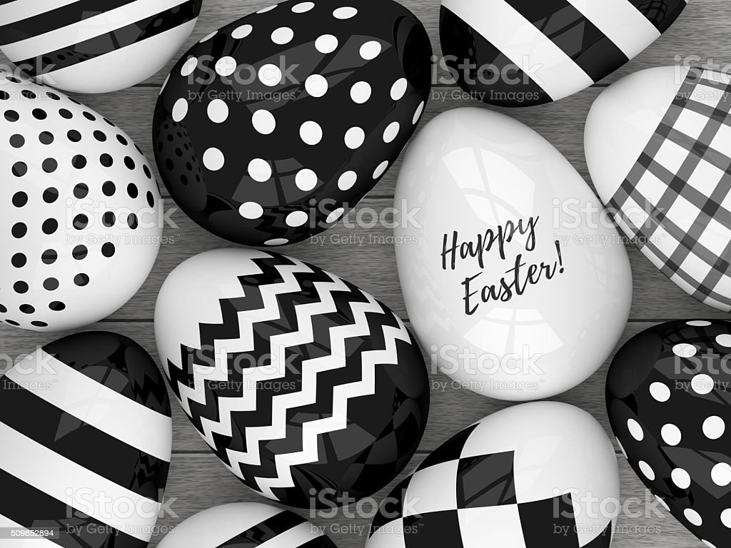 3d Elegant Easter Eggs With Black And White Patterns Stock Photo