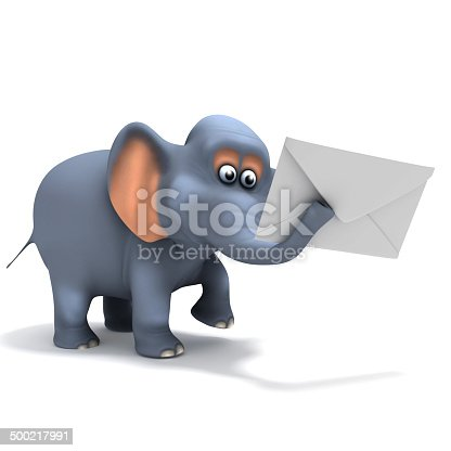 3d render of an elephant holding an envelope in its trunk