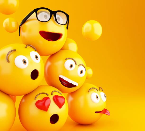 emojis 3d-icons mit mimik. - emojis stock-fotos und bilder