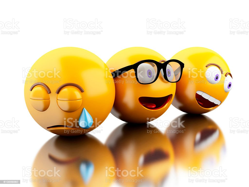 3d Emojis icons with facial expressions. stock photo