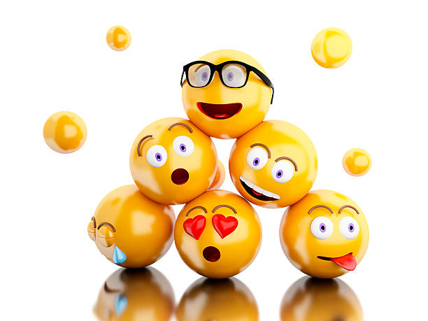 3d emojis icons with facial expressions. - emoticons stock photos and pictures