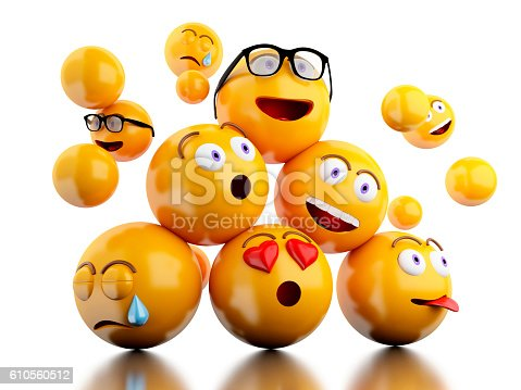 istock 3d Emojis icons with facial expressions. 610560512