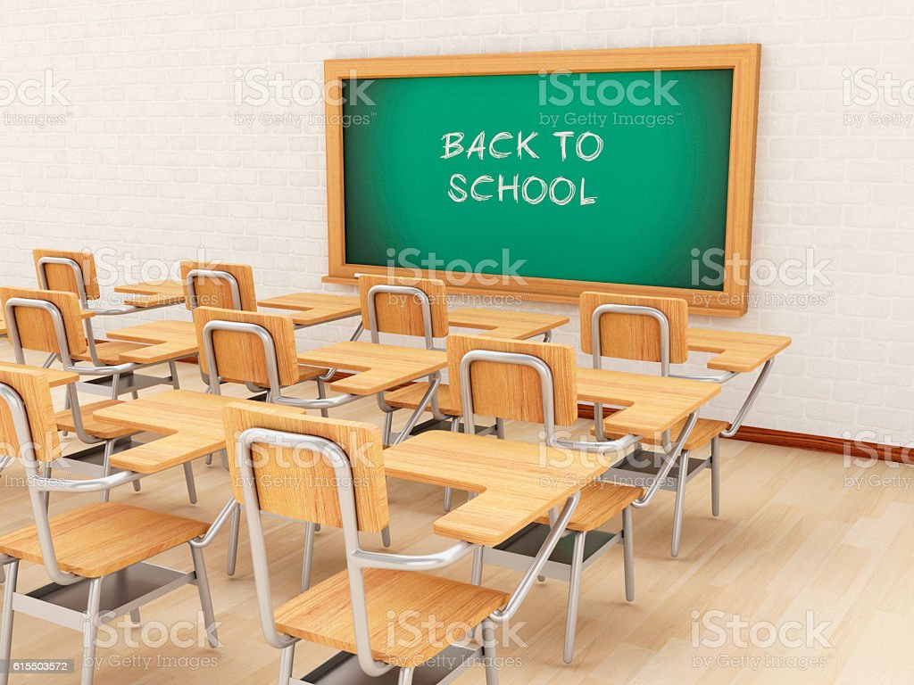3d Empty Classroom And Chalkboard With Back To School Royalty Free Stock Photo