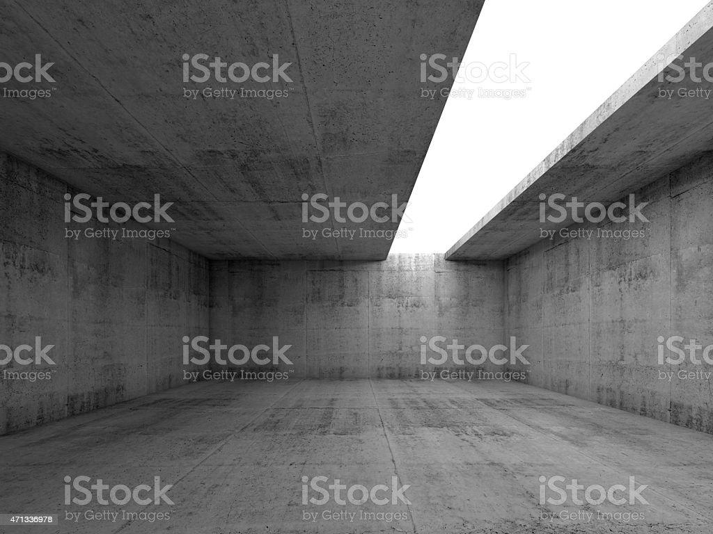 3d empty concrete interior with white asymmetric opening stock photo