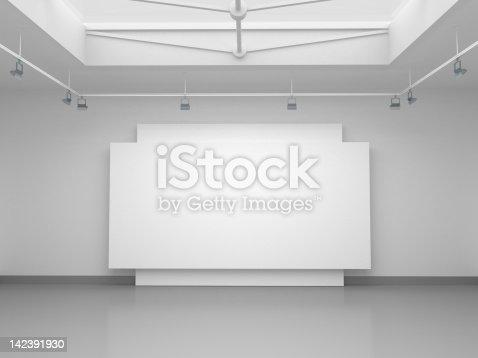 istock 3d empty gallery space 142391930