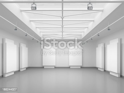istock 3d empty gallery space 185244027