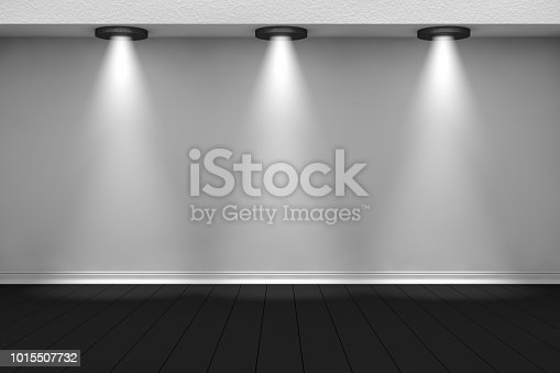 istock 3d empty interior template with spotlight 1015507732