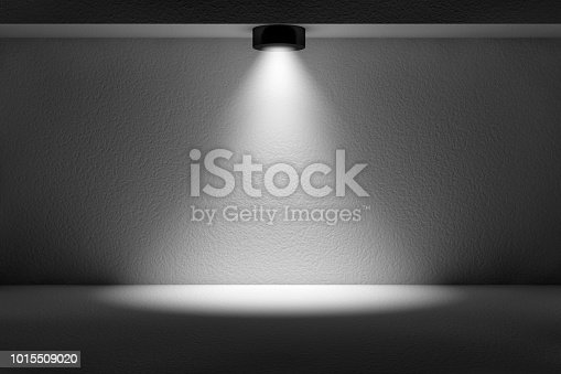 istock 3d empty interior template with spotlight 1015509020