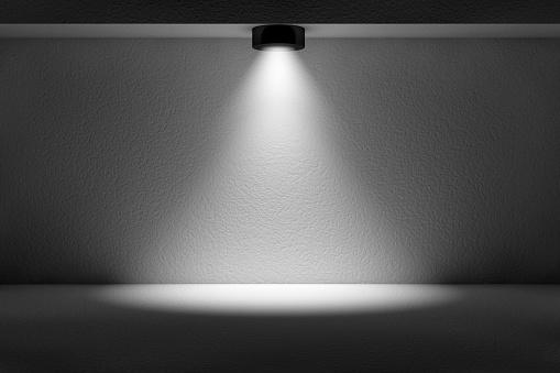 1015509020 istock photo 3d empty interior template with spotlight 1015509020