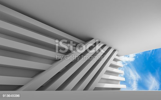 istock 3d empty interior with geometric installation 913645096