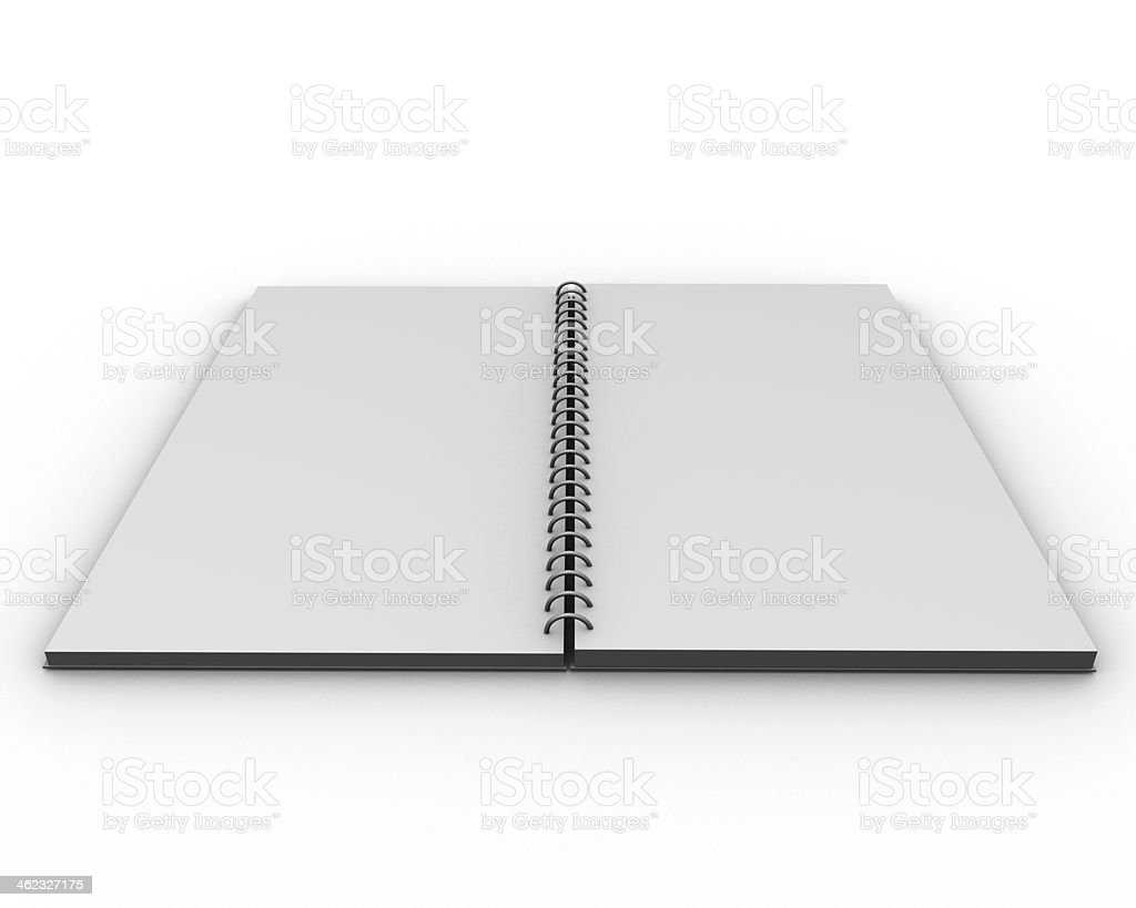 3d empty open notebook with blank copy space stock photo