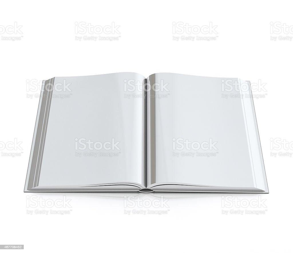 51c60e1ff91 3 d leer eröffnete Buch mit hardcovers, isoliert auf weißem Hintergrund  Lizenzfreies stock-foto