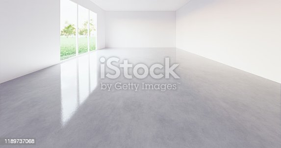 3d rendering of empty room with grid line for background.