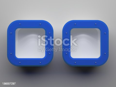 istock 3d Empty shelves with blue frames 136557297