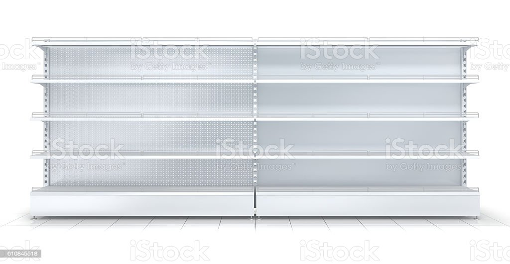 3d empty supermarket shelf isolated on white background stock photo